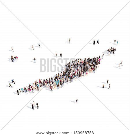 Large and creative group of people gathered together in the form of a map Anguilla. 3D illustration, isolated against a white background.