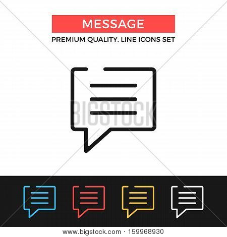 Vector message icon. Speech bubble concept. Premium quality graphic design. Modern signs, outline symbols collection, simple thin line icons set for websites, web design, mobile app, infographics