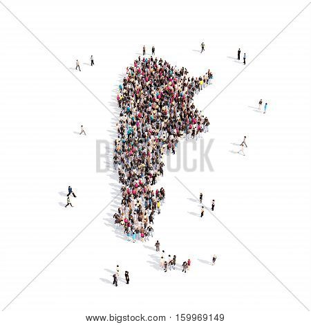 Large and creative group of people gathered together in the form of a map Argentina. 3D illustration, isolated against a white background.