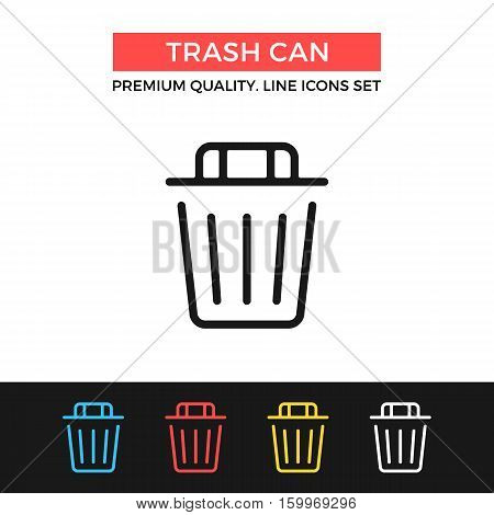 Vector trash can icon. Dustbin, recycle bin. Premium quality graphic design. Modern signs, outline symbols collection, simple thin line icons set for website, web design, mobile app, infographics