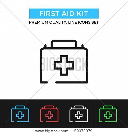 Vector first aid kit icon. Medical concepts. Premium quality graphic design. Modern signs, outline symbols collection, simple thin line icons set for websites, web design, mobile app, infographics