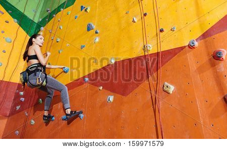 Time for entertainment. Active young delighted woman climbing up the wall in gym while training and wearing sportswear and special equipment.