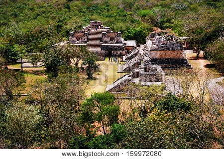 Coba Mexico. Aerial view of ancient mayan city in Mexico. Coba is an archaeological area and a famous landmark of Yucatan Peninsula. Forest around the pyramids in Mexico
