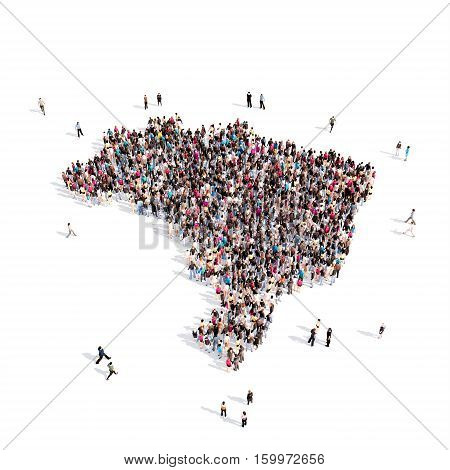 Large and creative group of people gathered together in the form of a map Brazil. 3D illustration, isolated against a white background.