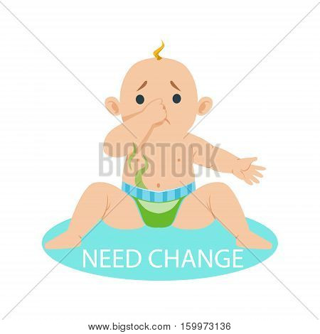 Little Baby Boy In Nappy Needs Change, Part Of Reasons Of Infant Being Unhappy And Crying Cartoon Illustration Collection. Infancy And Parenthood Info Vector Drawings With Explanations Why Toddler Is Upset.