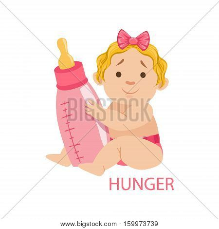 Little Baby Girl In Nappy Holding A Bottle Being Hungry, Part Of Reasons Of Infant Being Unhappy And Crying Cartoon Illustration Collection. Infancy And Parenthood Info Vector Drawings With Explanations Why Toddler Is Upset.