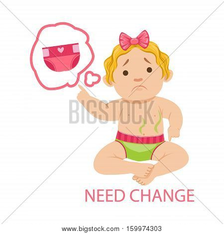 Little Baby Girl In Dirty Nappy Needs Change, Part Of Reasons Of Infant Being Unhappy And Crying Cartoon Illustration Collection. Infancy And Parenthood Info Vector Drawings With Explanations Why Toddler Is Upset.
