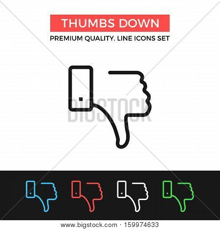 Vector thumbs down icon. Dislike concepts. Premium quality graphic design. Modern signs, outline symbols collection, simple thin line icons set for websites, web design, mobile app, infographics