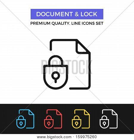 Vector document and lock icon. File protection. Premium quality graphic design. Modern signs, outline symbols collection, simple thin line icons set for websites, web design, mobile app, infographics