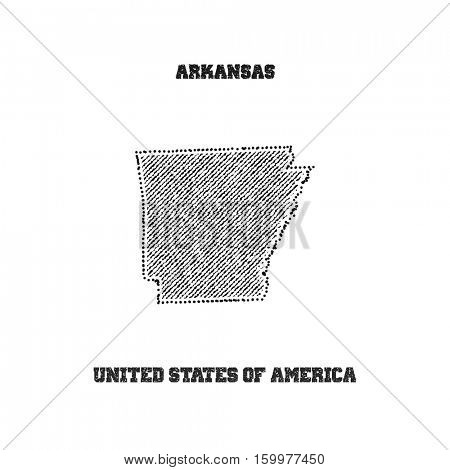 Label with map of arkansas. Vector illustration.