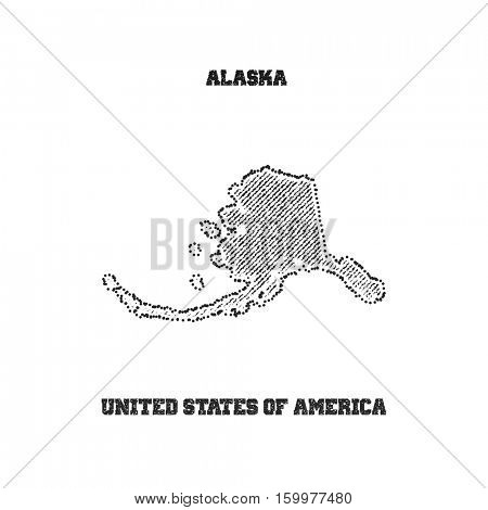 Label with map of alaska. Vector illustration.