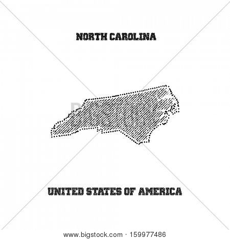 Label with map of north carolina. Vector illustration.