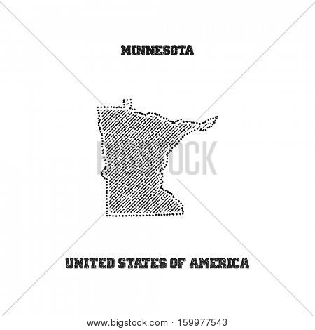 Label with map of minnesota. Vector illustration.