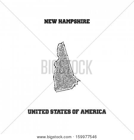 Label with map of new hampshire. Vector illustration.