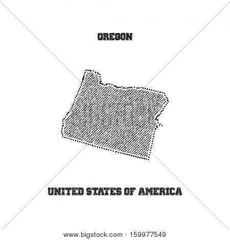 Label with map of oregon. Vector illustration.