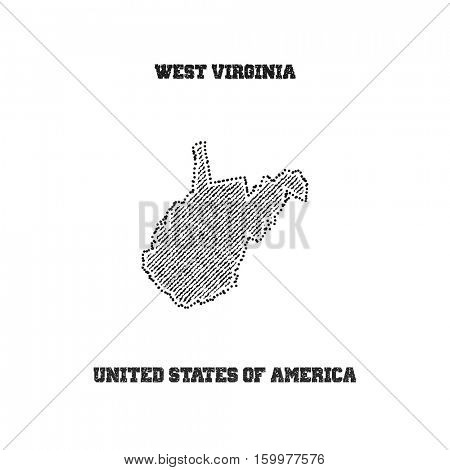Label with map of west virginia. Vector illustration.