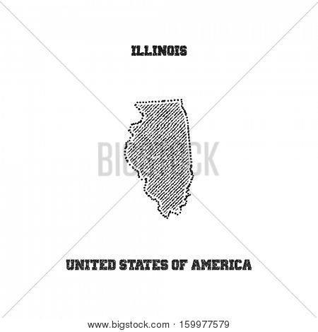 Label with map of illinois. Vector illustration.