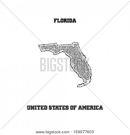 Label with map of florida. Vector illustration.
