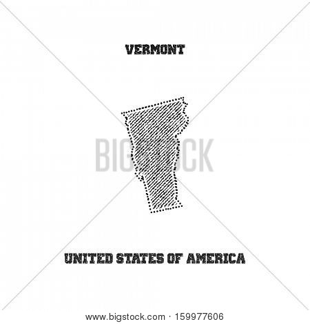 Label with map of vermont. Vector illustration.
