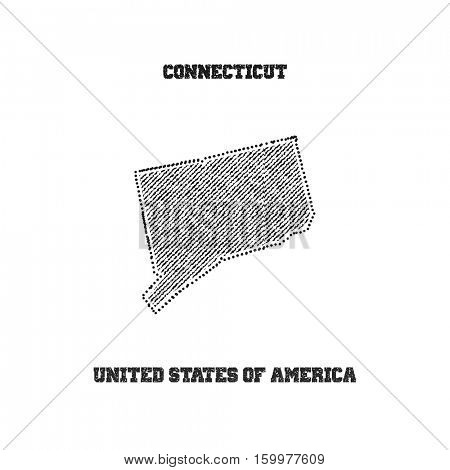 Label with map of connecticut. Vector illustration.
