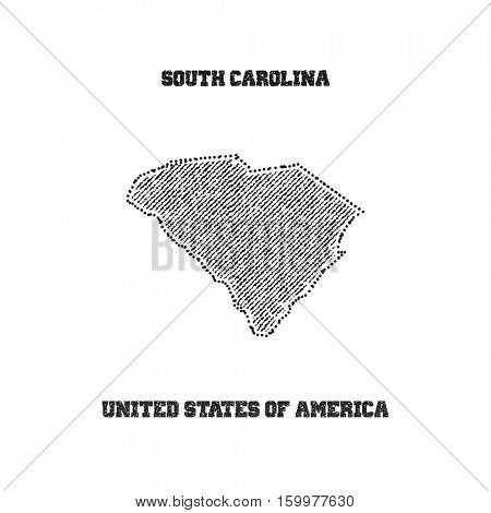 Label with map of south carolina. Vector illustration.