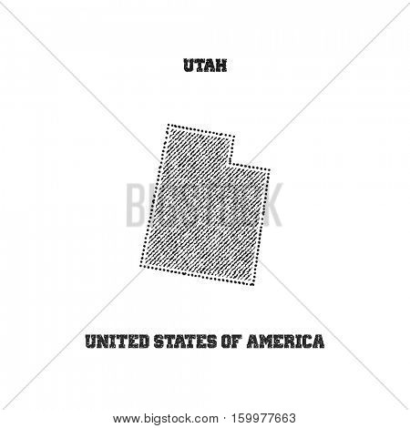 Label with map of utah. Vector illustration.