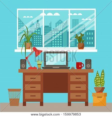 Vector colorful office desk closeup concept. Flat work interior design elements table, laptop, lamp, books. Working concept of office desk close up. Flat style office desk closeup illustration.