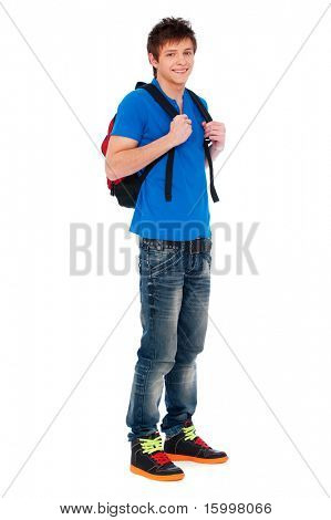 full-length portrait of happy guy with knapsack