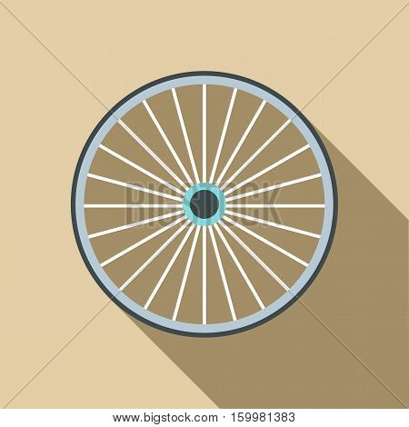 Bicycle wheel icon. Flat illustration of bicycle wheel vector icon for web