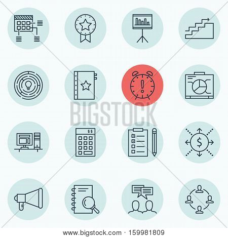 Set Of 16 Project Management Icons. Can Be Used For Web, Mobile, UI And Infographic Design. Includes Elements Such As Growth, Goal, Investment And More.