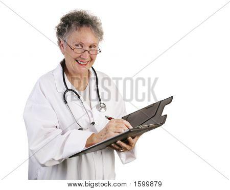 Friendly Female Doctor Takes Notes