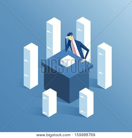 tired businessman sitting at office desk with lots of stacks of papers isometric illustration daily routine a lot of works business concept paperwork and overwork