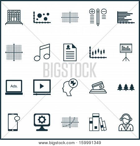 Set Of 20 Universal Editable Icons. Can Be Used For Web, Mobile And App Design. Includes Elements Such As Bars Chart, Holiday Ornament, Operator And More.