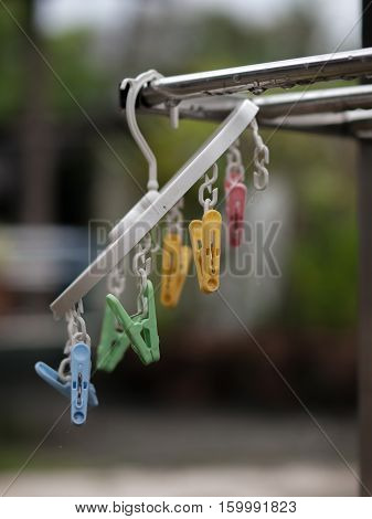 COLOR PHOTO OF CLOSE-UP SHOT CLOTHES PEGS