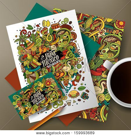 Cartoon cute colorful vector hand drawn doodles Latin America corporate identity set. Templates design of business card, flyers, posters, papers on the table