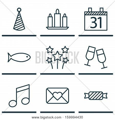 Set Of 9 Holiday Icons. Can Be Used For Web, Mobile, UI And Infographic Design. Includes Elements Such As Envelope, Calendar, Glasses And More.