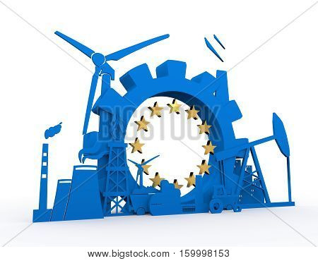 Energy and Power icons set with European Union flag element. Sustainable energy generation and heavy industry. 3D rendering