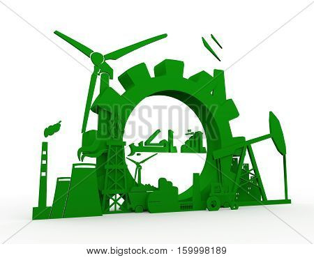 Energy and Power icons set with Iraq flag element. Sustainable energy generation and heavy industry. 3D rendering