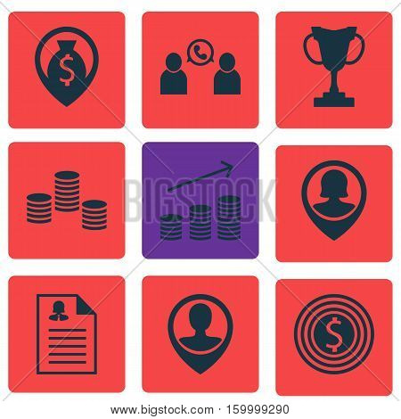 Set Of 9 Hr Icons. Can Be Used For Web, Mobile, UI And Infographic Design. Includes Elements Such As Phone, Money, Map And More.