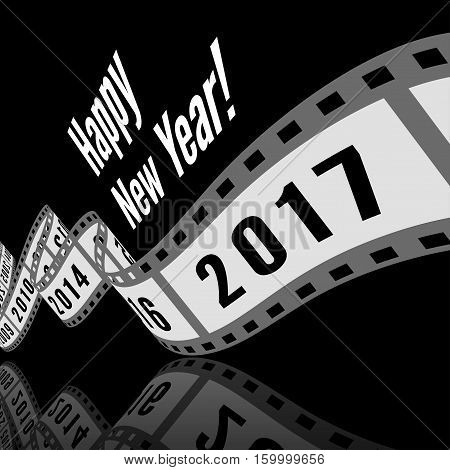 Happy new year 2017. Film strip vector illustration