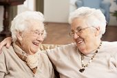foto of day care center  - Two Senior Women Friends At Day Care Centre - JPG