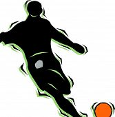 Soccer Player hitting a ball.pantone-colors.vector-Abbildung