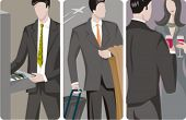 A set of 3 businessmen vector illustrations. 1) A businessman searching for a folder. 2) A businessm
