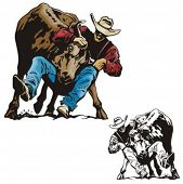 image of bareback  - Illustration of a rodeo bullfighting - JPG