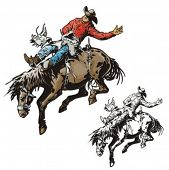 picture of bareback  - Illustration of a rodeo cowboy riding a saddled horse - JPG