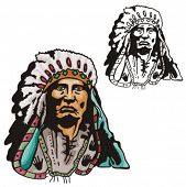 foto of cree  - Illustration of an indian chief - JPG