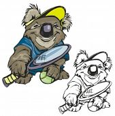 Koala Tennis Mascot. Great for t-shirt designs, school mascot logo and any other design work. Ready
