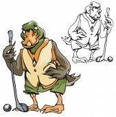 stock photo of game-cock  - Duck Golf Mascot - JPG