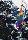 foto of gay flag  - gay lesbian bisexual and transgender pride flag with motorcycles - JPG