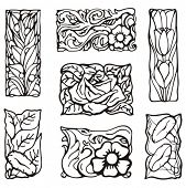 stock photo of art nouveau  - Floral rectangle design elements - JPG
